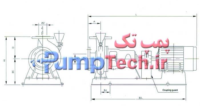 جدول فنی  الکترو پمپ سانتریفیوژ چدنی سری FSA